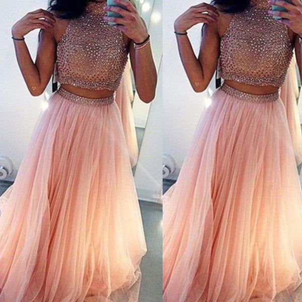 A-Line High Neck Sleeveless Sweep/Brush Train Tulle Prom Dresses 2017