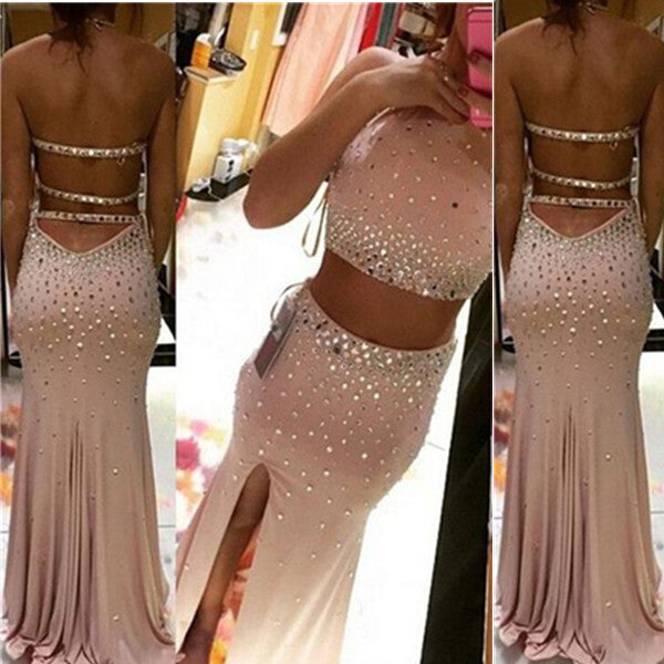 75% OFF!Long Sheath/Column Bateau Stretch Satin Prom Dresses 2017