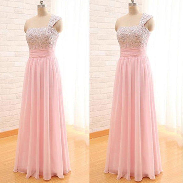 75% OFF!A-Line One Shoulder Sleeveless Floor-Length Chiffon Prom Dresses 2017