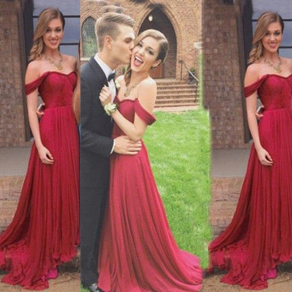 75% OFF!Long A-Line Off-the-Shoulder Chiffon Prom Dresses 2017