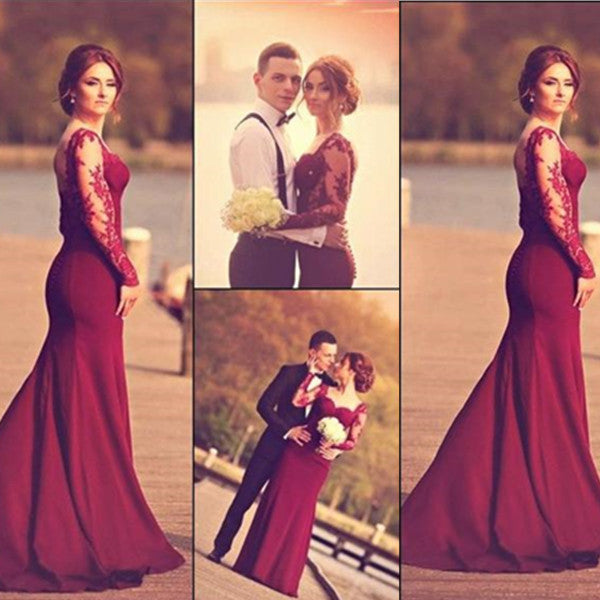 Red Trumpet/Mermaid Sweetheart Stretch Satin Prom Dresses 2017