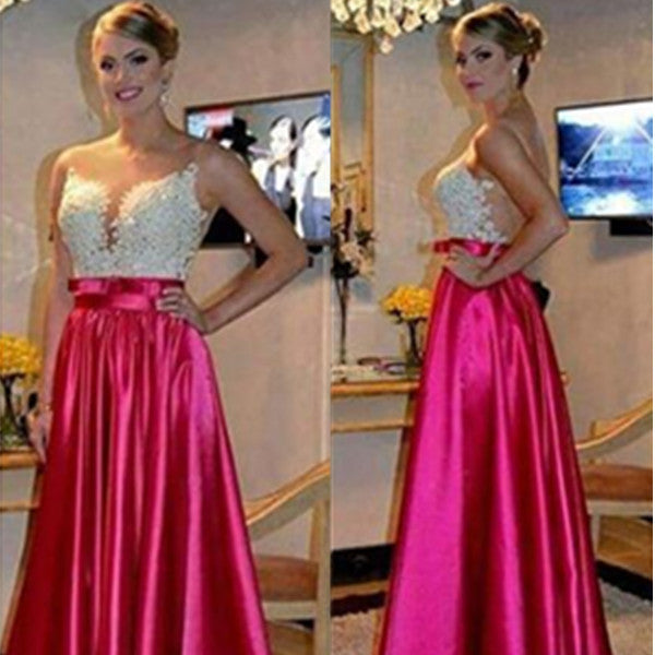 A-Line Sleeveless Natural Zipper Floor-Length Stretch Satin Prom Dresses 2017