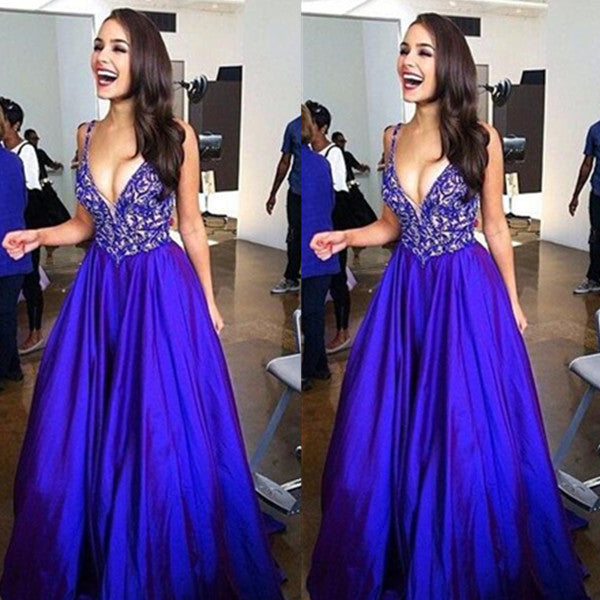 75% OFF!Long A-Line Spaghetti Straps Appliques Satin Prom Dresses 2017