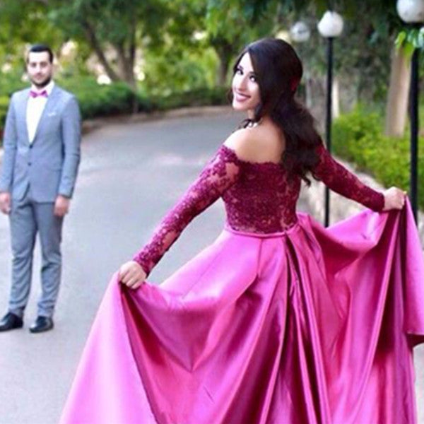 75% OFF!A-Line Off-the-Shoulder Long Sleeves Natural  Satin Prom Dresses 2017