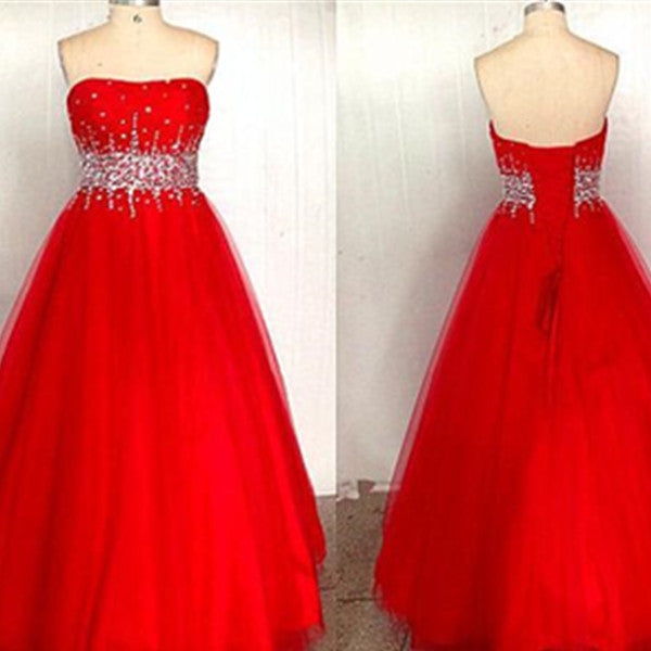 Red A-Line Sweetheart Sleeveless Empire Lace-up Floor-Length Taffeta Prom Dresses 2017