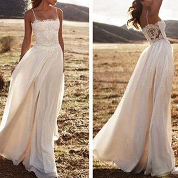 White A-Line Spaghetti Straps Sleeveless Natural Zipper Floor-Length Chiffon Prom Dresses 2017