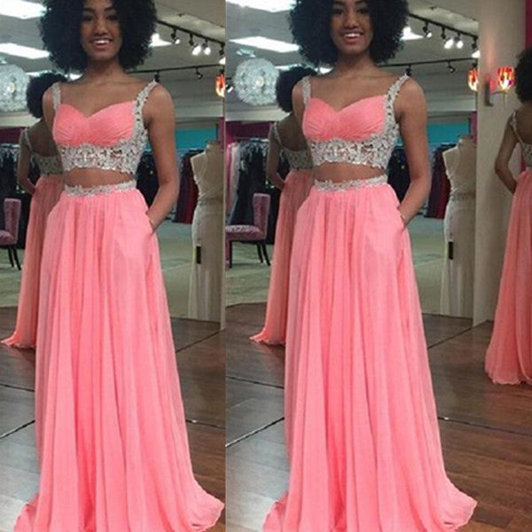 75% OFF!Long A-line Lace Straps Chiffon Prom Dresses 2017