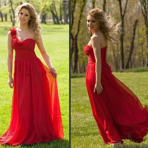 75% OFF!A-Line One Shoulder Sleeveless Natural Chiffon Prom Dresses 2017