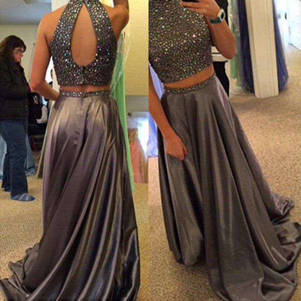 75% OFF!Long A-line High Neck Two Pieces Satin Prom Dresses 2017