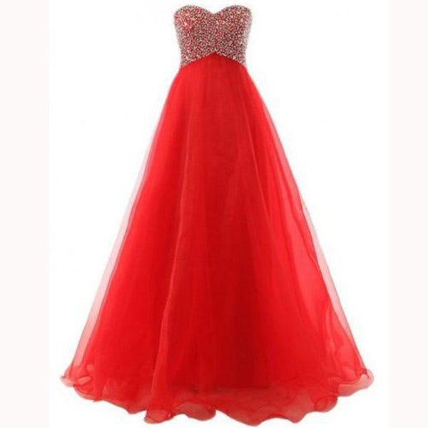 75% OFF!Long Sweetheart A-line Beading Tulle Prom Dresses 2017