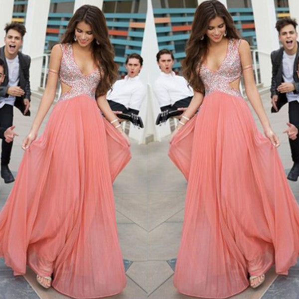 75% OFF!Long V-Neck A-line Sequins Chiffon Prom Dresses 2017