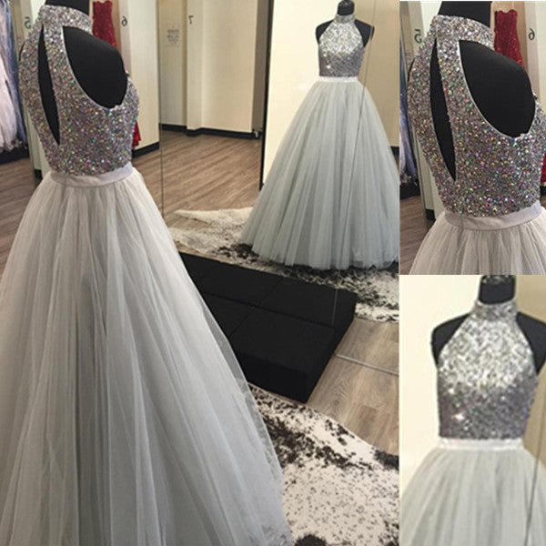 75% OFF!Beading Halter Tulle Prom Dresses 2017