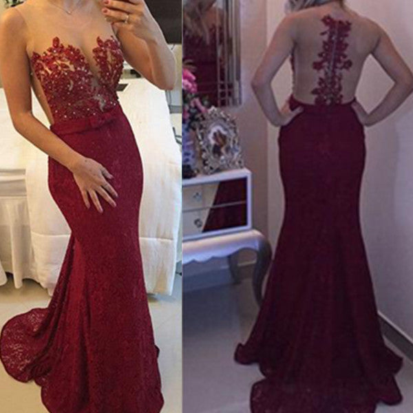 75% OFF!Long Trumpet/Mermaid Lace Prom Dresses 2017