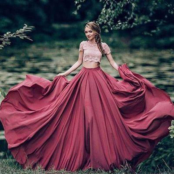 A-Line Short Sleeves Sweep/Brush Train Prom Dresses 2017