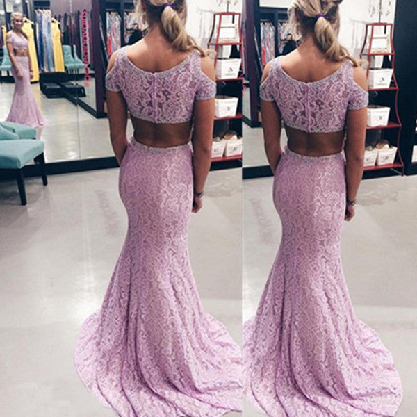 75% OFF!Beading Mermaid Lace Two Pieces Prom Dresses 2017