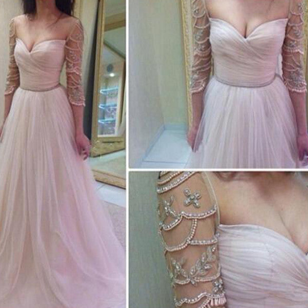A-Line Sweetheart 3/4 Length Sleeves Beading Tulle Prom Dresses 2017