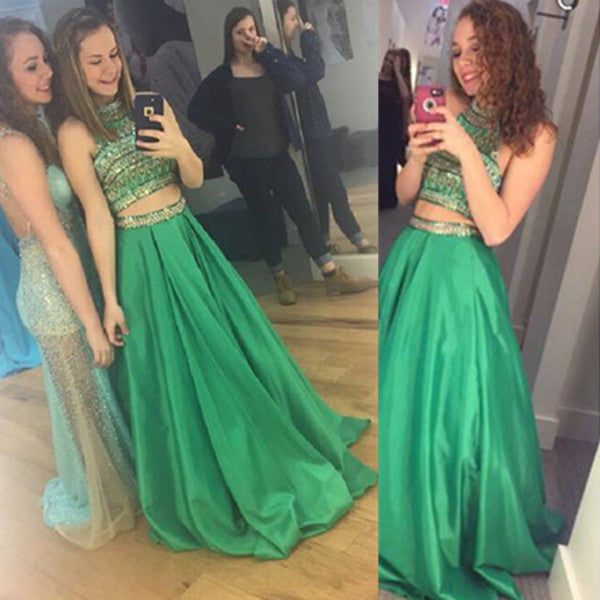 75% OFF!Long A-line High Neck Beading Satin Prom Dresses 2017