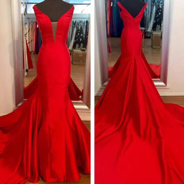 Red V-Neck Natural Sweep Train Mermaid Satin Prom Dresses 2017