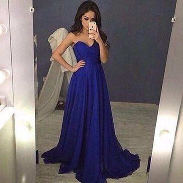 Blue A-Line Sweetheart Sleeveless Natural Sweep/Brush Train Chiffon Prom Dresses 2017