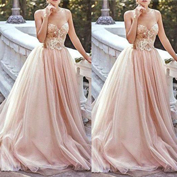 Sweetheart Beading Natural Sweep Train Tulle Prom Dresses 2017