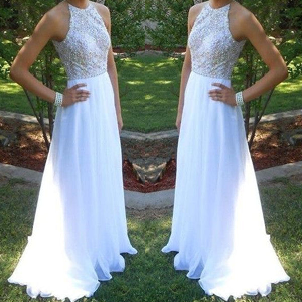 A-Line Sleeveless Natural Zipper Sweep Train Chiffon Prom Dresses 2017