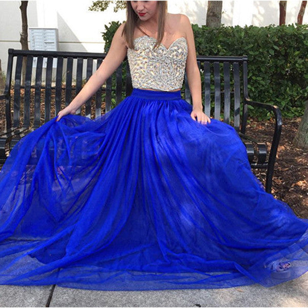 75% OFF!Beading Tulle Two Pieces Prom Dresses 2017