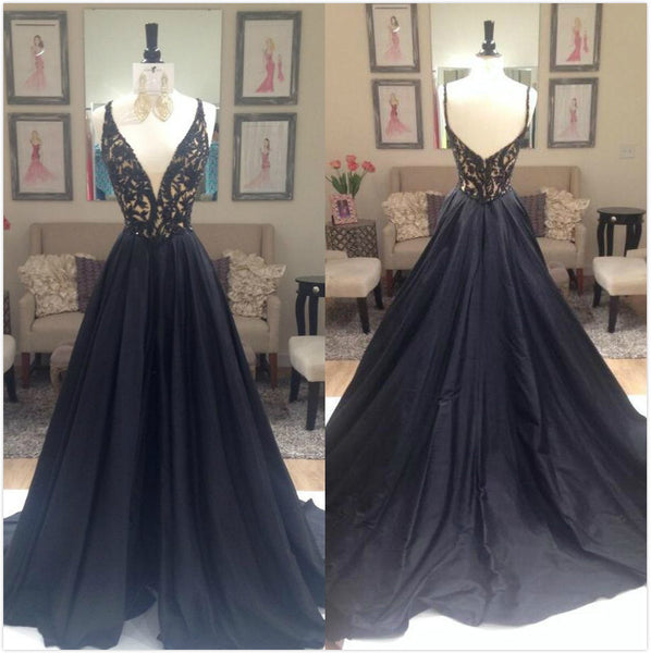 Black Beading V-Neck Zipper Prom Dresses 2017