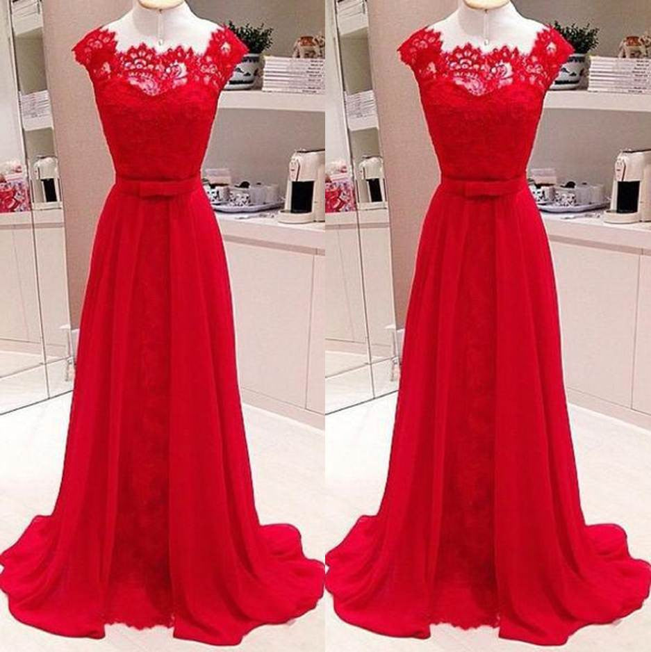 Red Scalloped Neck A-line Stretch Satin Prom Dresses 2017