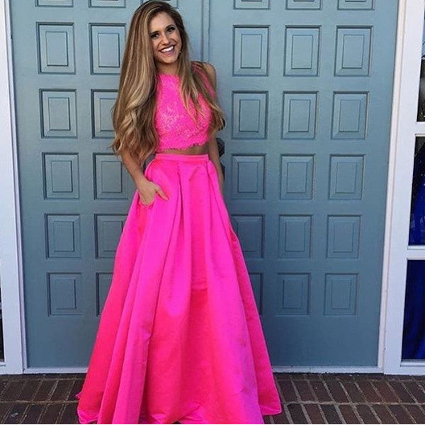 75% OFF!Round Neck Sleeveless Lace Two Piece Prom Dresses 2017