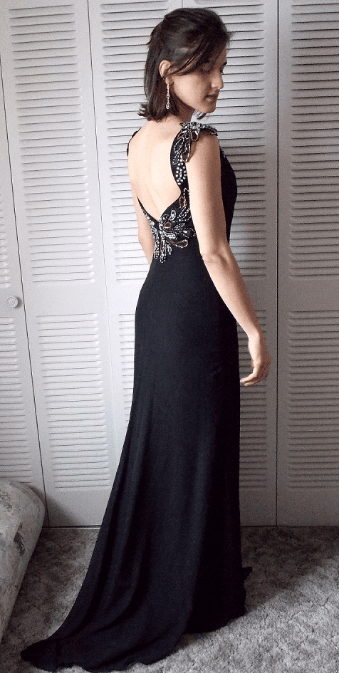 Black Beading V-Neck Sheath Chiffon Prom Dresses 2017