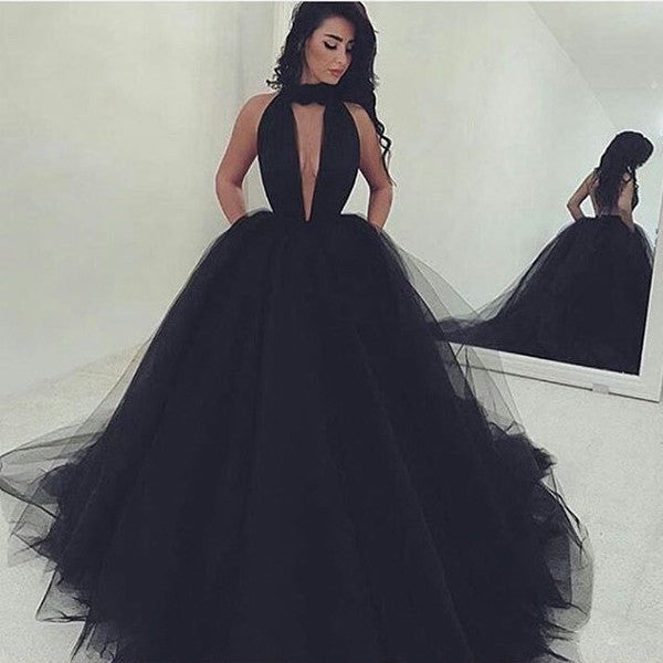 75% OFF!Gorgeous Deep V-Neck Ball Gown Tulle Prom Dresses 2017