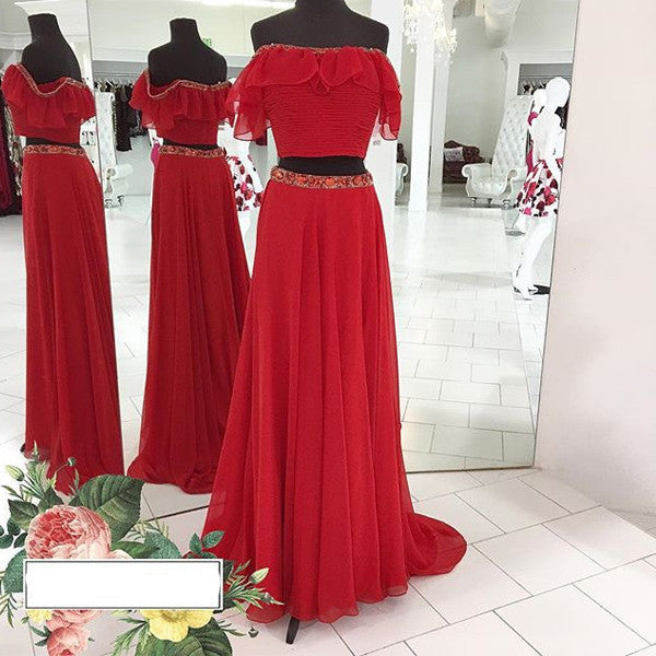 75% OFF!Beading Off-the-Shoulder Chiffon Two Pieces Prom Dresses 2017