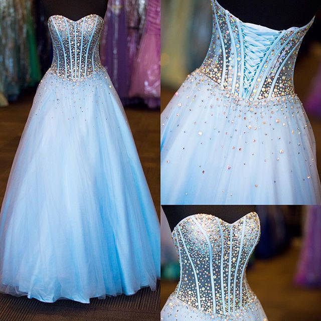 75% OFF!Beading Lace-up Ball Gown Tulle Prom Dresses 2017