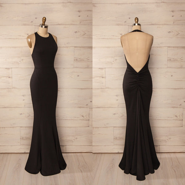 Black Sexy Sleeveless Backless Long Mermaid Prom Dresses 2017