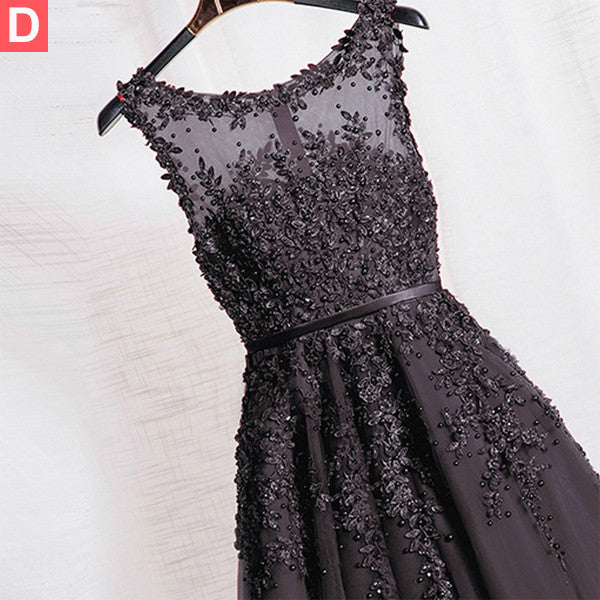 75% OFF!Bateau Neck Appliques Beading A-line Tulle Prom Dresses 2017