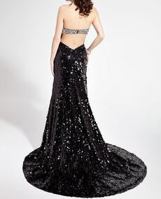 Black Sweetheart Natural Backless Sheath Sequins Prom Dresses 2017