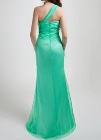 Beading One Shoulder Floor-length Sheath/Column Satin Prom Dresses 2017