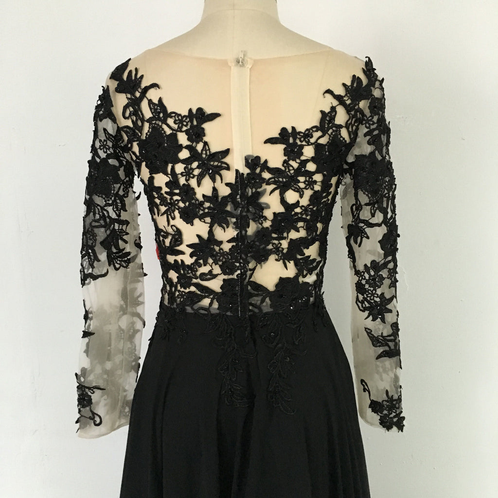 Black Sexy Split Sheer Sleeves Lace Prom Dresses 2017