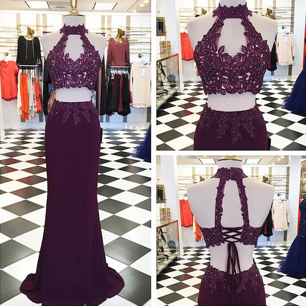 75% OFF!Beading Appliques Halter Stretch Satin Two Pieces Prom Dresses 2017
