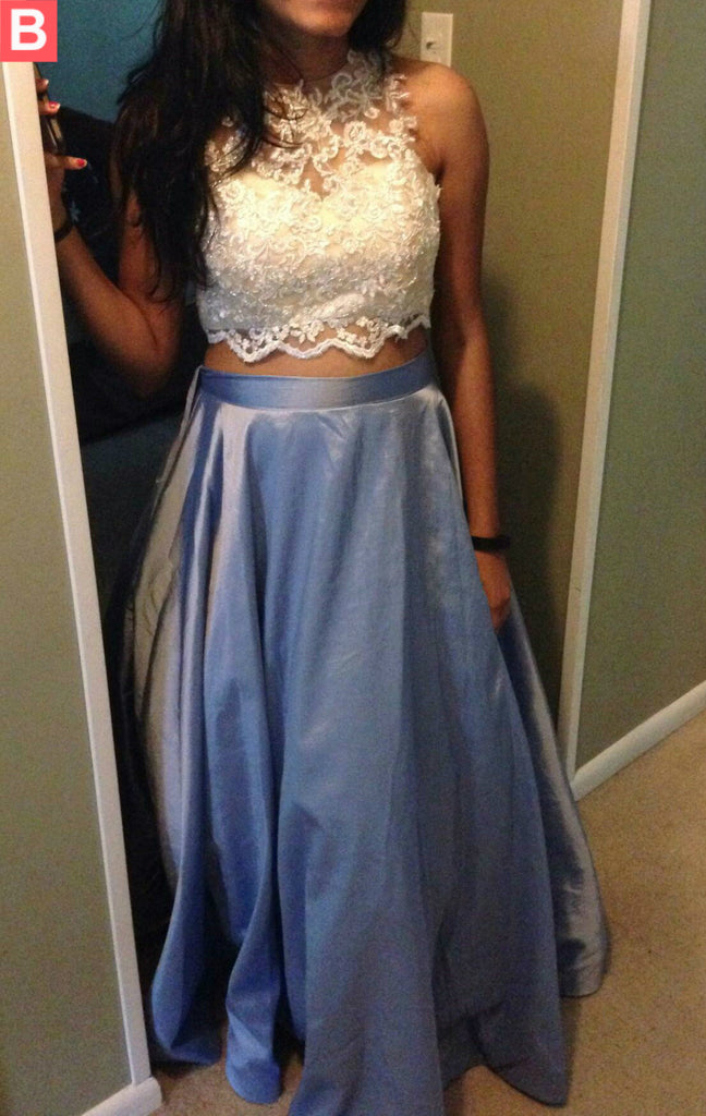 Blue Beading A-line Lace Two Pieces Prom Dresses 2017