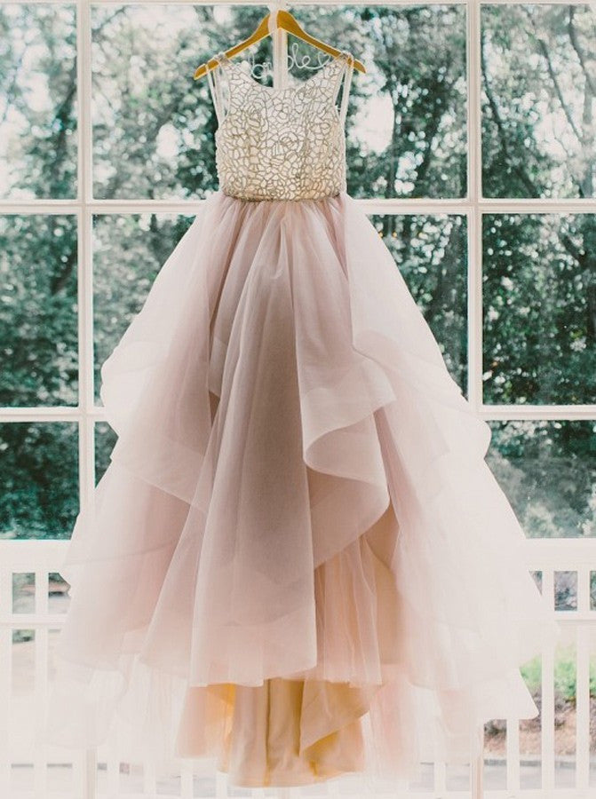 Beading Ball Gown Organza Prom Dresses 2017