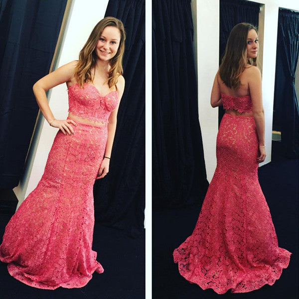 Red Sweetheart Mermaid Lace Two Pieces Prom Dresses 2017