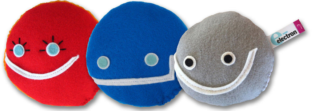 Atomic 3-pack subatomic particle plush toy