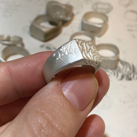 Sonic Fragment raw silver signet ring