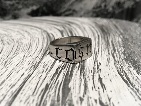 Cosmic 1ne carved silver ring