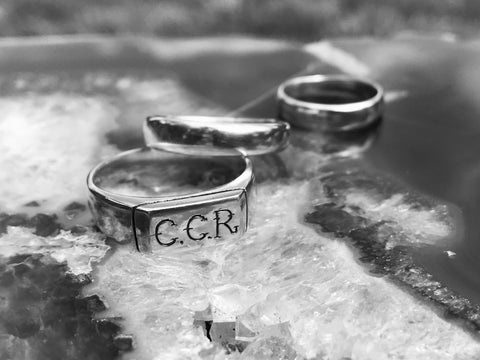 Three Silver rings in black and white