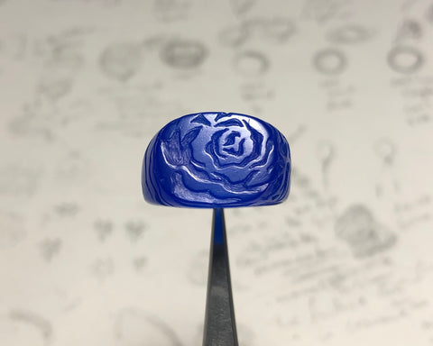 Front view Cosmic Artifact Dripping Rose ring prototype