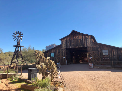Apacheland barn and windmill at Superstition Mountain, Arizona
