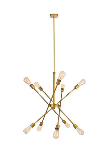 Axel Brass Pendant, Elegant Axel 10-Light Brass Pendant