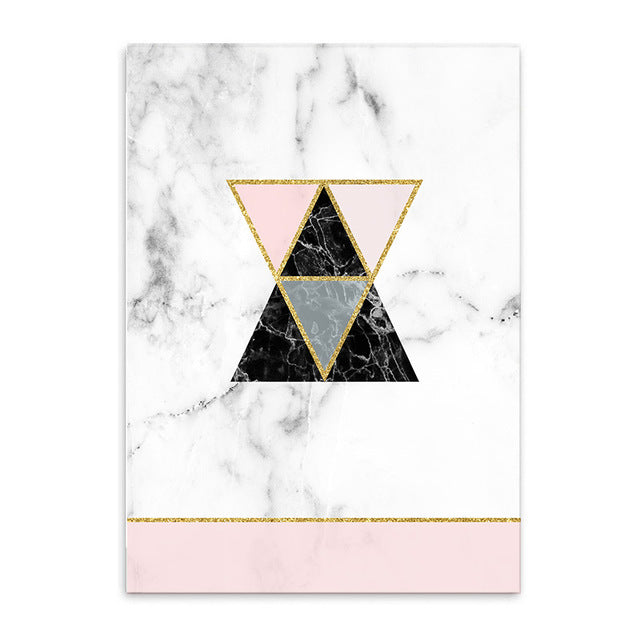 Geometrical Prints on Marble Pattern Canvas Art